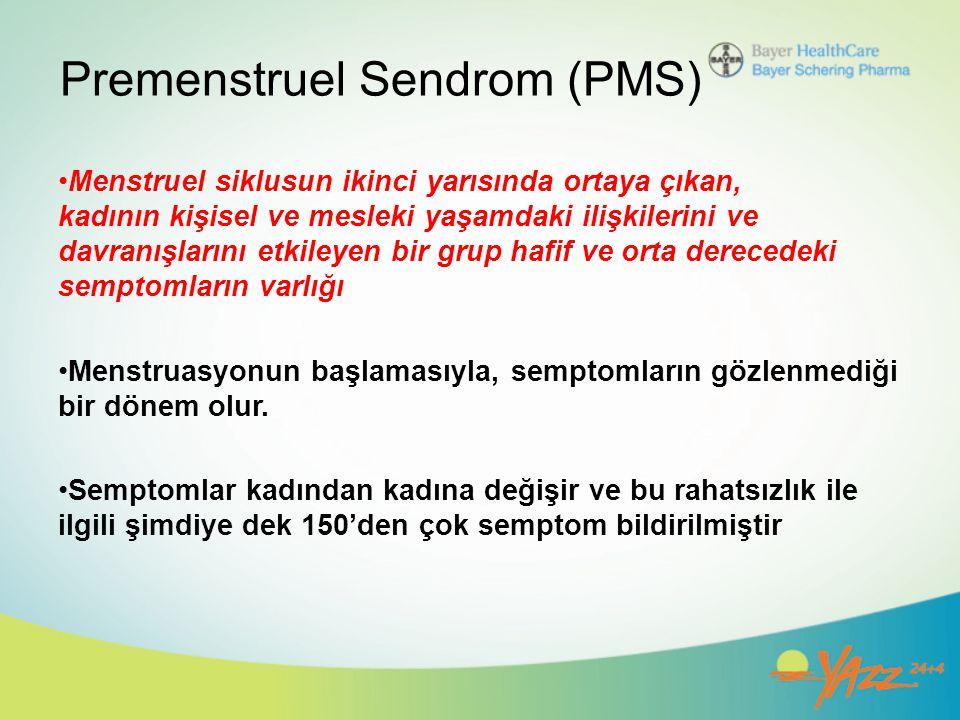 Premenstruel Sendrom (PMS) Menstruel siklusun ikinci yarısında ortaya çıkan, kadının kişisel ve mesleki yaşamdaki ilişkilerini ve davranışlarını etkil