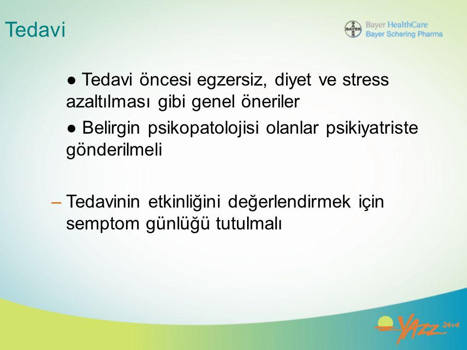 Tedavi ● Tedavi öncesi egzersiz, diyet ve stress azaltılması gibi genel öneriler ● Belirgin psikopatolojisi olanlar psikiyatriste gönderilmeli –Tedavi