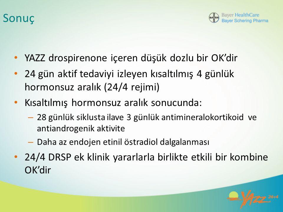 Sonuç YAZZ drospirenone içeren düşük dozlu bir OK'dir 24 gün aktif tedaviyi izleyen kısaltılmış 4 günlük hormonsuz aralık (24/4 rejimi) Kısaltılmış ho