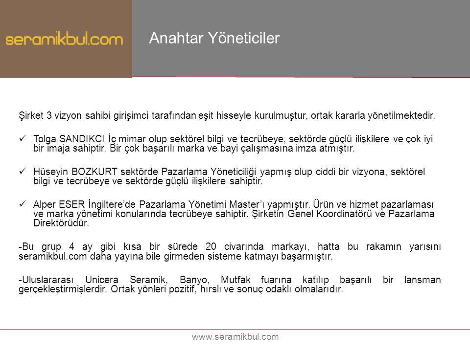 www.seramikbul.com Anahtar Yöneticiler Şirket 3 vizyon sahibi girişimci tarafından eşit hisseyle kurulmuştur, ortak kararla yönetilmektedir. Tolga SAN