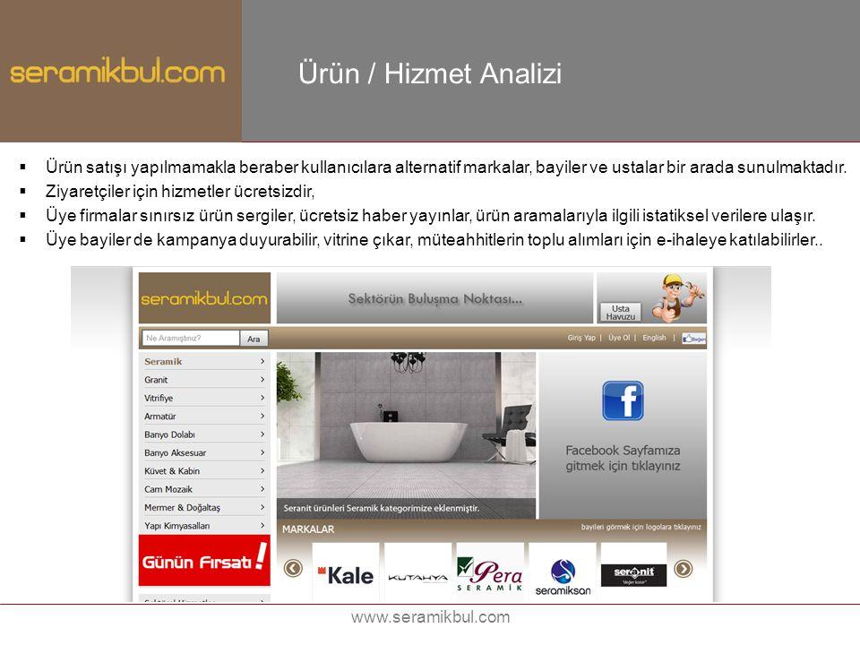 www.seramikbul.com Ürün / Hizmet Analizi  Ürün satışı yapılmamakla beraber kullanıcılara alternatif markalar, bayiler ve ustalar bir arada sunulmakta