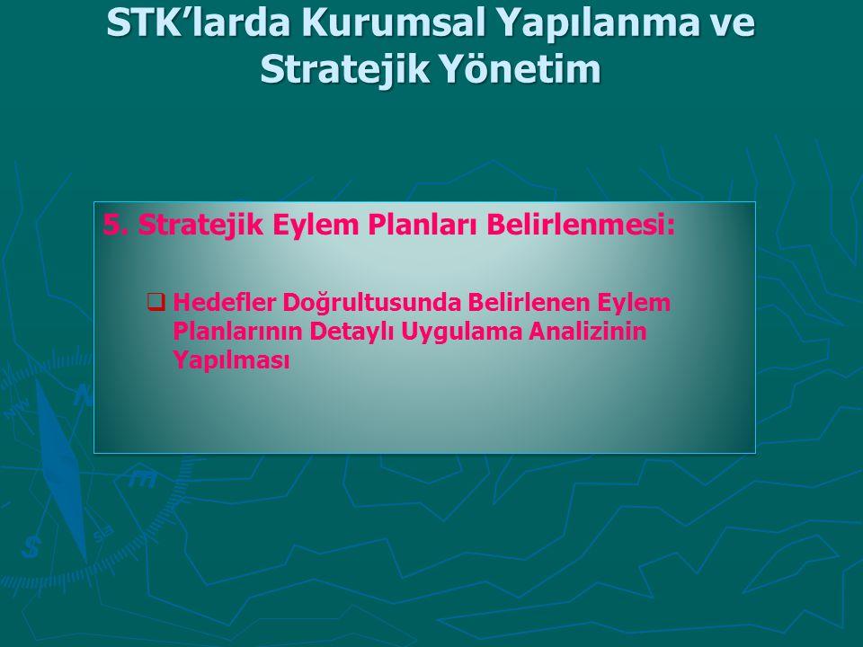 STK'larda Kurumsal Yapılanma ve Stratejik Yönetim 5. Stratejik Eylem Planları Belirlenmesi:   Hedefler Doğrultusunda Belirlenen Eylem Planlarının De