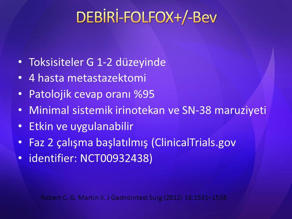 Toksisiteler G 1-2 düzeyinde 4 hasta metastazektomi Patolojik cevap oranı %95 Minimal sistemik irinotekan ve SN-38 maruziyeti Etkin ve uygulanabilir F