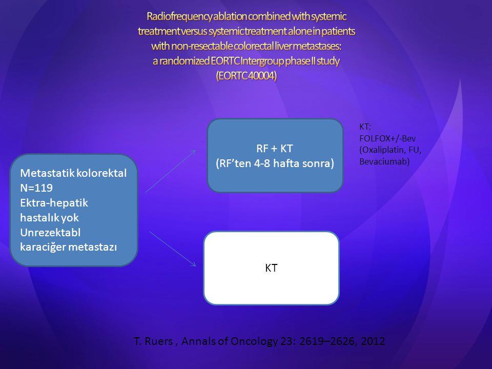 Metastatik kolorektal N=119 Ektra-hepatik hastalık yok Unrezektabl karaciğer metastazı RF + KT (RF'ten 4-8 hafta sonra) KT KT: FOLFOX+/-Bev (Oxaliplat