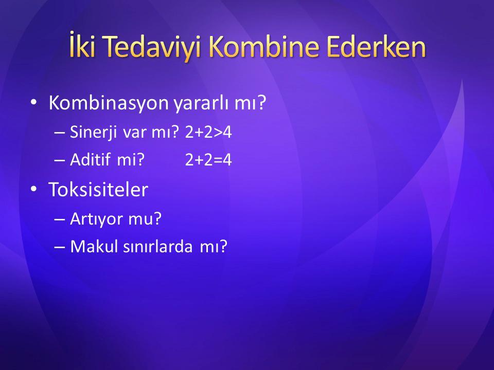 Kombinasyon yararlı mı? – Sinerji var mı? 2+2>4 – Aditif mi? 2+2=4 Toksisiteler – Artıyor mu? – Makul sınırlarda mı?