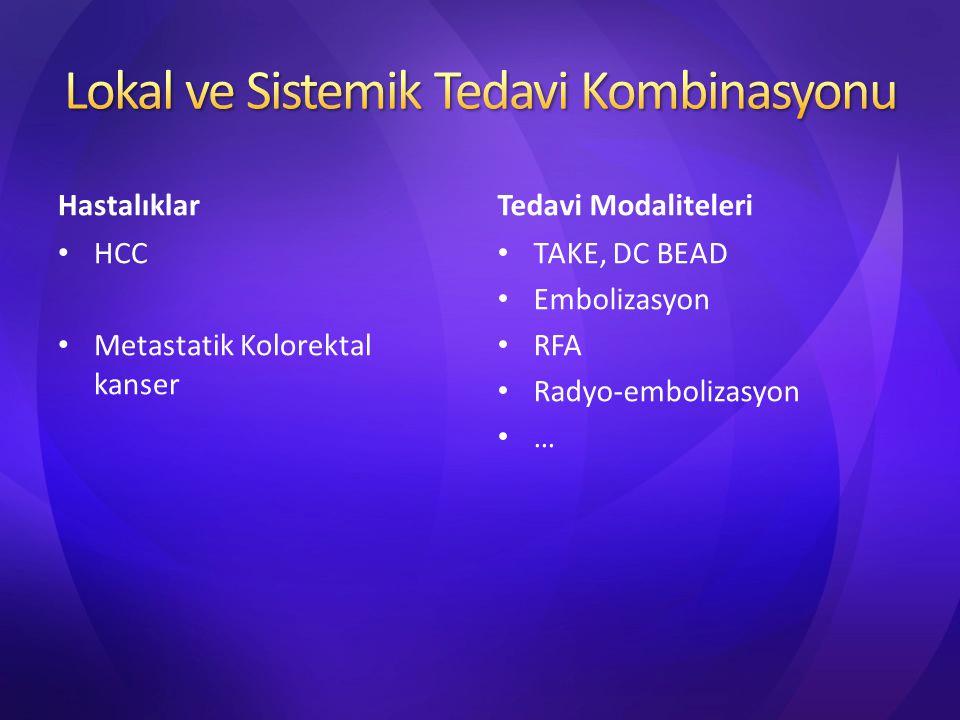 KC malign tümörlerinde sistemik kemoterapi ve lokal tedavi (TAKE, RFA, SIRT) kombine edilebilir.