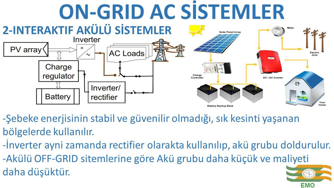 ON-GRID AC SİSTEMLER -Şebeke enerjisinin stabil ve güvenilir olmadığı, sık kesinti yaşanan bölgelerde kullanılır. -İnverter ayni zamanda rectifier ola