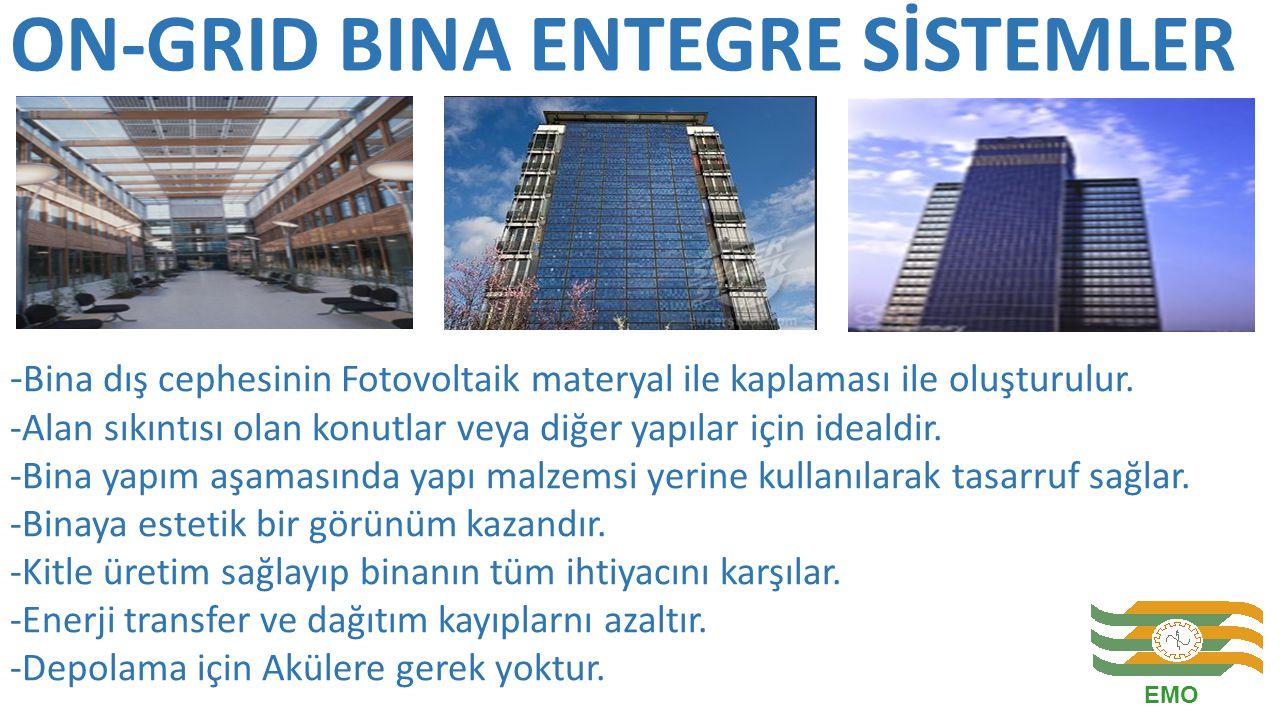 ON-GRID BINA ENTEGRE SİSTEMLER - Bina dış cephesinin Fotovoltaik materyal ile kaplaması ile oluşturulur. -Alan sıkıntısı olan konutlar veya diğer yapı