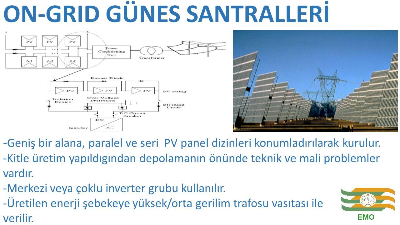 ON-GRID GÜNES SANTRALLERİ - Geniş bir alana, paralel ve seri PV panel dizinleri konumladırılarak kurulur. -Kitle üretim yapıldıgından depolamanın önün
