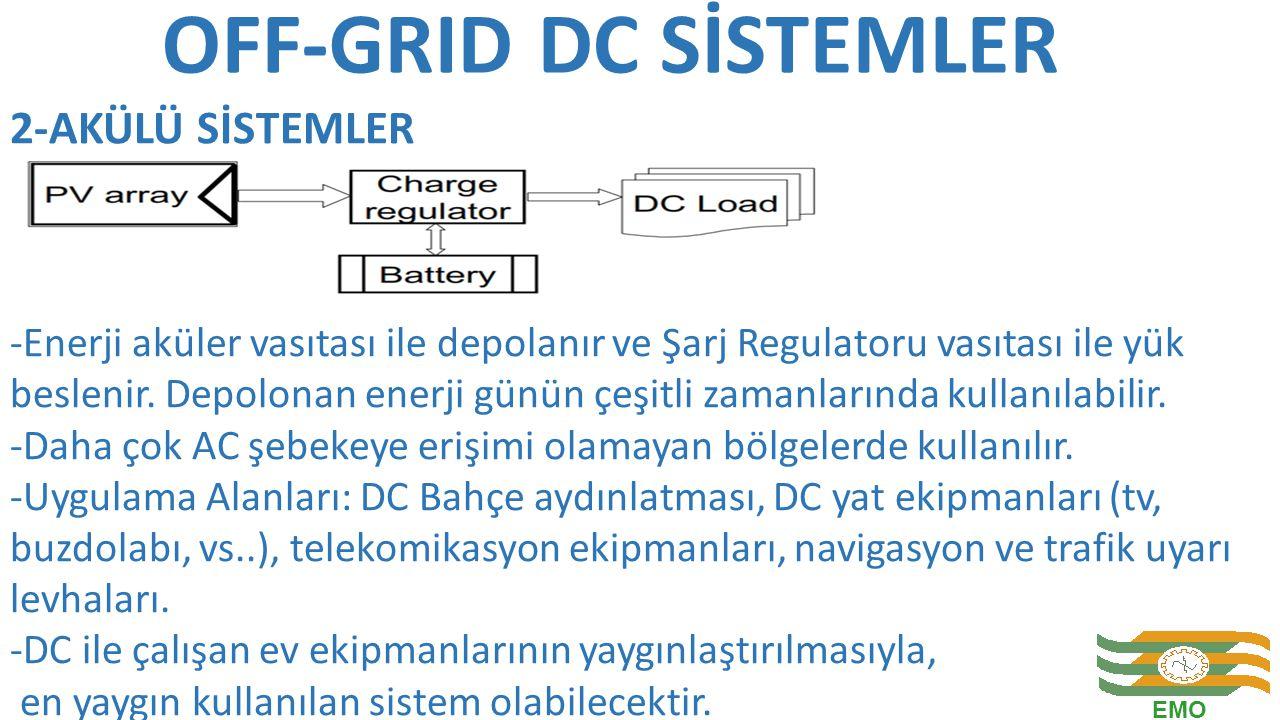 OFF-GRID DC SİSTEMLER -Enerji aküler vasıtası ile depolanır ve Şarj Regulatoru vasıtası ile yük beslenir. Depolonan enerji günün çeşitli zamanlarında