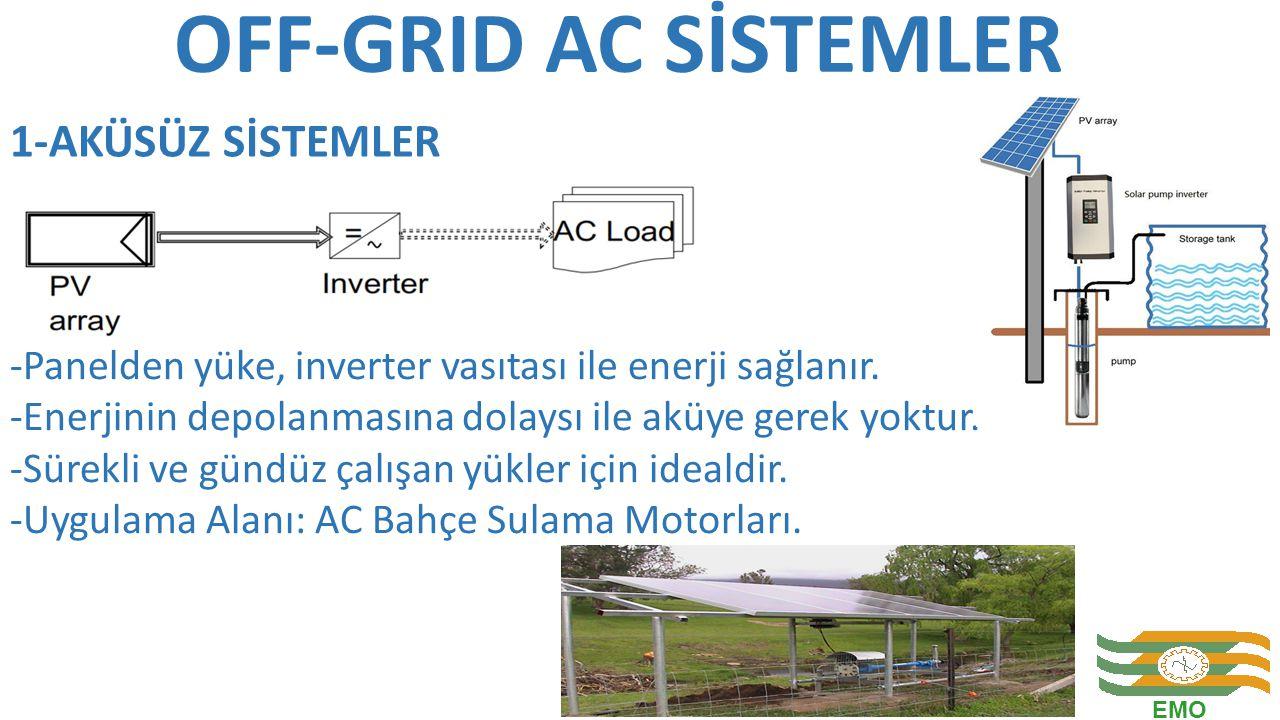 OFF-GRID AC SİSTEMLER -Panelden yüke, inverter vasıtası ile enerji sağlanır. -Enerjinin depolanmasına dolaysı ile aküye gerek yoktur. -Sürekli ve günd