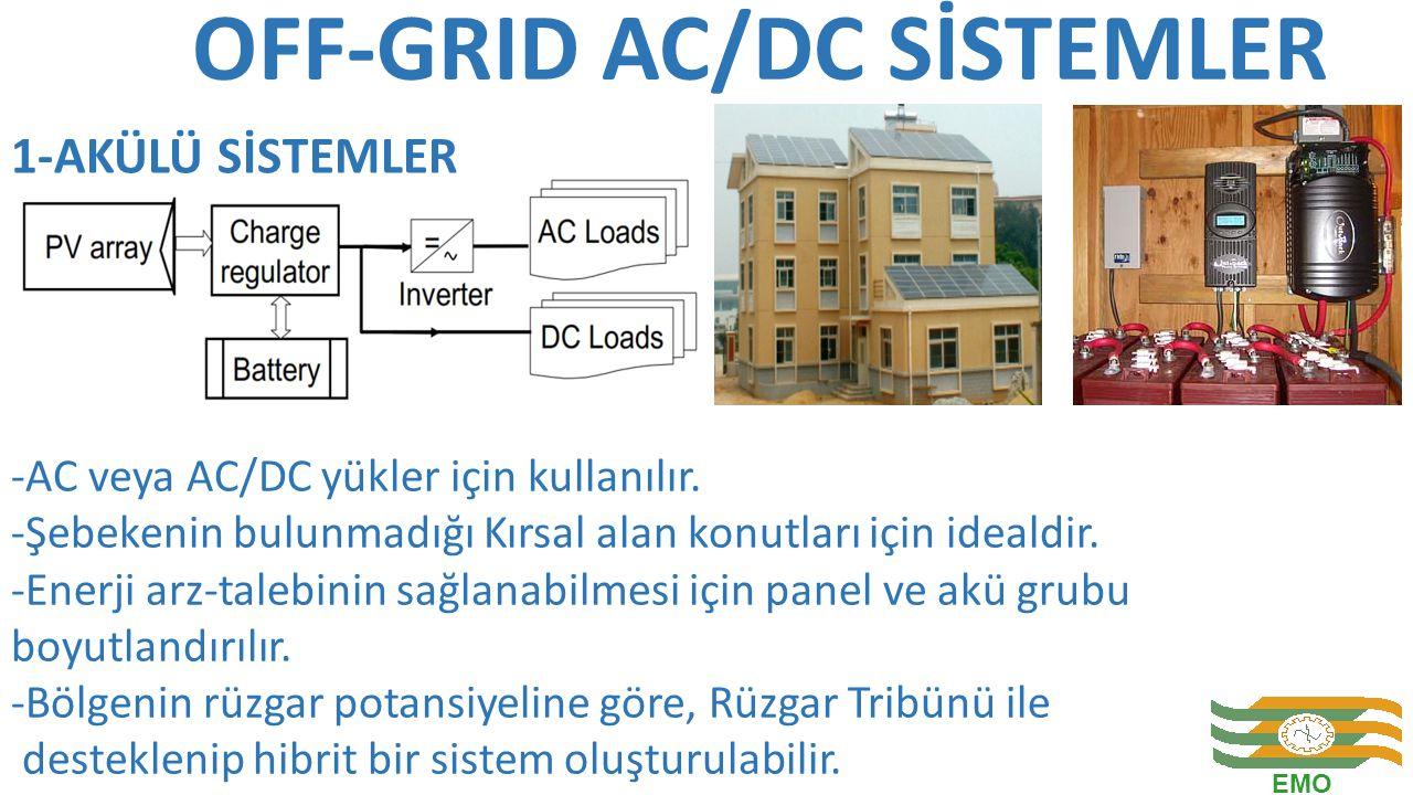 OFF-GRID AC/DC SİSTEMLER -AC veya AC/DC yükler için kullanılır. -Şebekenin bulunmadığı Kırsal alan konutları için idealdir. -Enerji arz-talebinin sağl