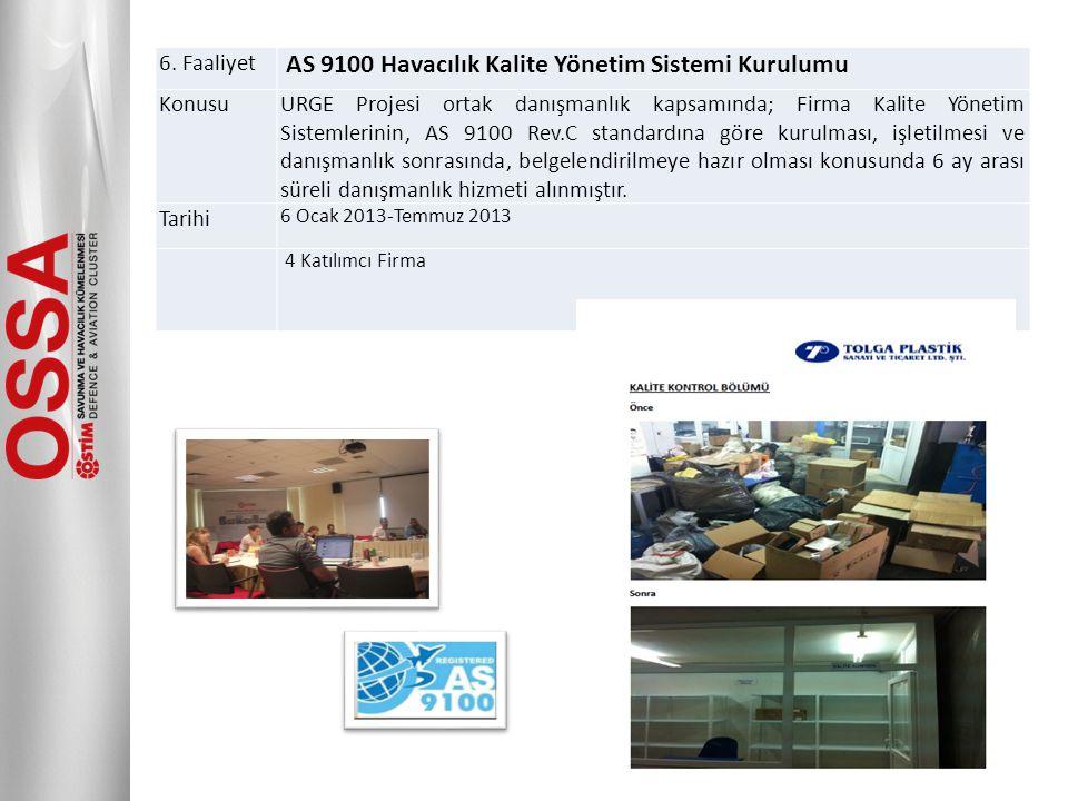 6. Faaliyet AS 9100 Havacılık Kalite Yönetim Sistemi Kurulumu KonusuURGE Projesi ortak danışmanlık kapsamında; Firma Kalite Yönetim Sistemlerinin, AS