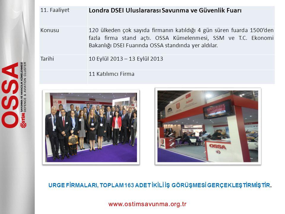 11. Faaliyet Londra DSEI Uluslararası Savunma ve Güvenlik Fuarı Konusu120 ülkeden çok sayıda firmanın katıldığı 4 gün süren fuarda 1500'den fazla firm