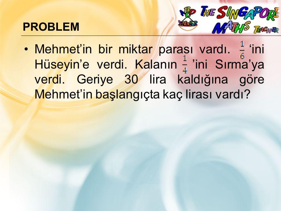 PROBLEM Mehmet'in bir miktar parası vardı.'ini Hüseyin'e verdi.