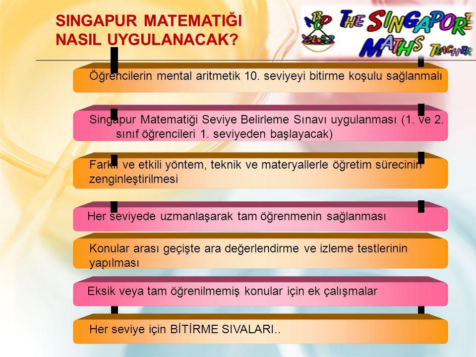 Öğrencilerin mental aritmetik 10. seviyeyi bitirme koşulu sağlanmalı Singapur Matematiği Seviye Belirleme Sınavı uygulanması (1. ve 2. sınıf öğrencile