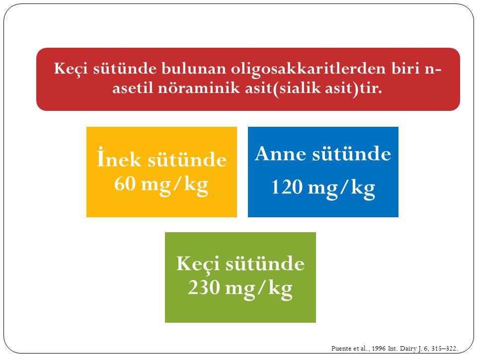 Keçi sütünde bulunan oligosakkaritlerden biri n- asetil nöraminik asit(sialik asit)tir. İ nek sütünde 60 mg/kg Anne sütünde 120 mg/kg Keçi sütünde 230
