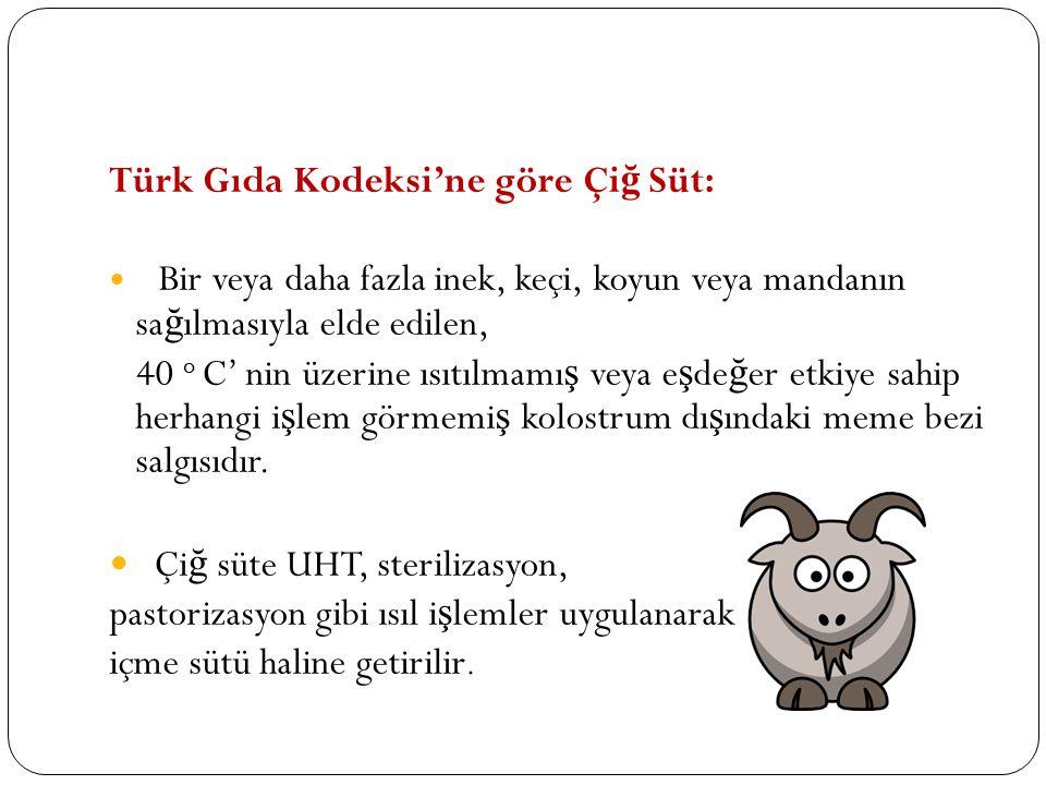 Türk Gıda Kodeksi'ne göre Çi ğ Süt: Bir veya daha fazla inek, keçi, koyun veya mandanın sa ğ ılmasıyla elde edilen, 40 o C' nin üzerine ısıtılmamı ş v