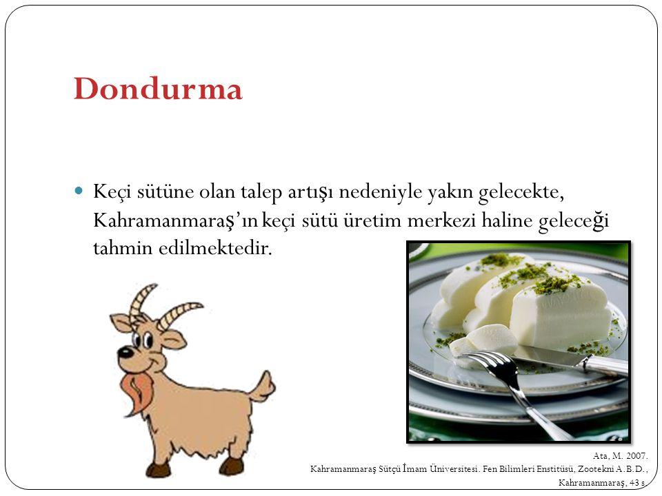 Keçi sütüne olan talep artı ş ı nedeniyle yakın gelecekte, Kahramanmara ş 'ın keçi sütü üretim merkezi haline gelece ğ i tahmin edilmektedir. Ata, M.