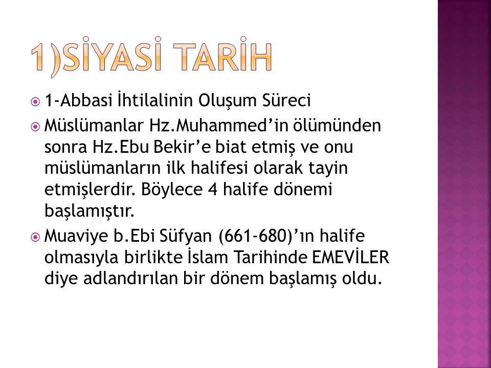  1-Abbasi İhtilalinin Oluşum Süreci  Müslümanlar Hz.Muhammed'in ölümünden sonra Hz.Ebu Bekir'e biat etmiş ve onu müslümanların ilk halifesi olarak t