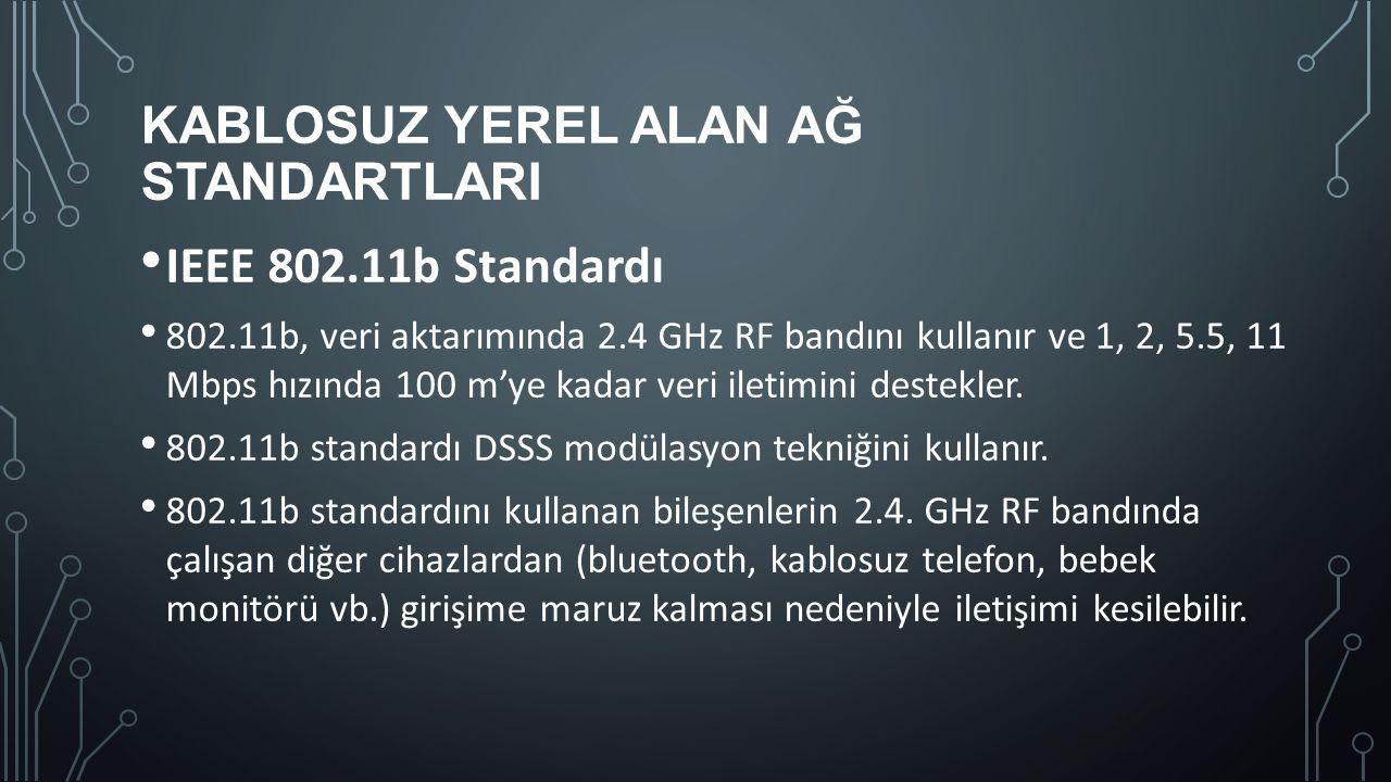 KABLOSUZ YEREL ALAN AĞ STANDARTLARI IEEE 802.11b Standardı 802.11b, veri aktarımında 2.4 GHz RF bandını kullanır ve 1, 2, 5.5, 11 Mbps hızında 100 m'y