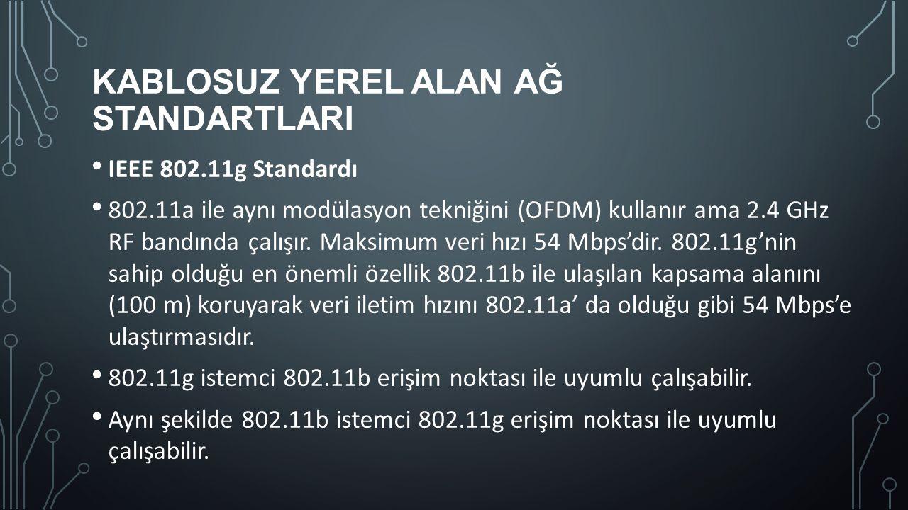 KABLOSUZ YEREL ALAN AĞ STANDARTLARI IEEE 802.11g Standardı 802.11a ile aynı modülasyon tekniğini (OFDM) kullanır ama 2.4 GHz RF bandında çalışır. Maks