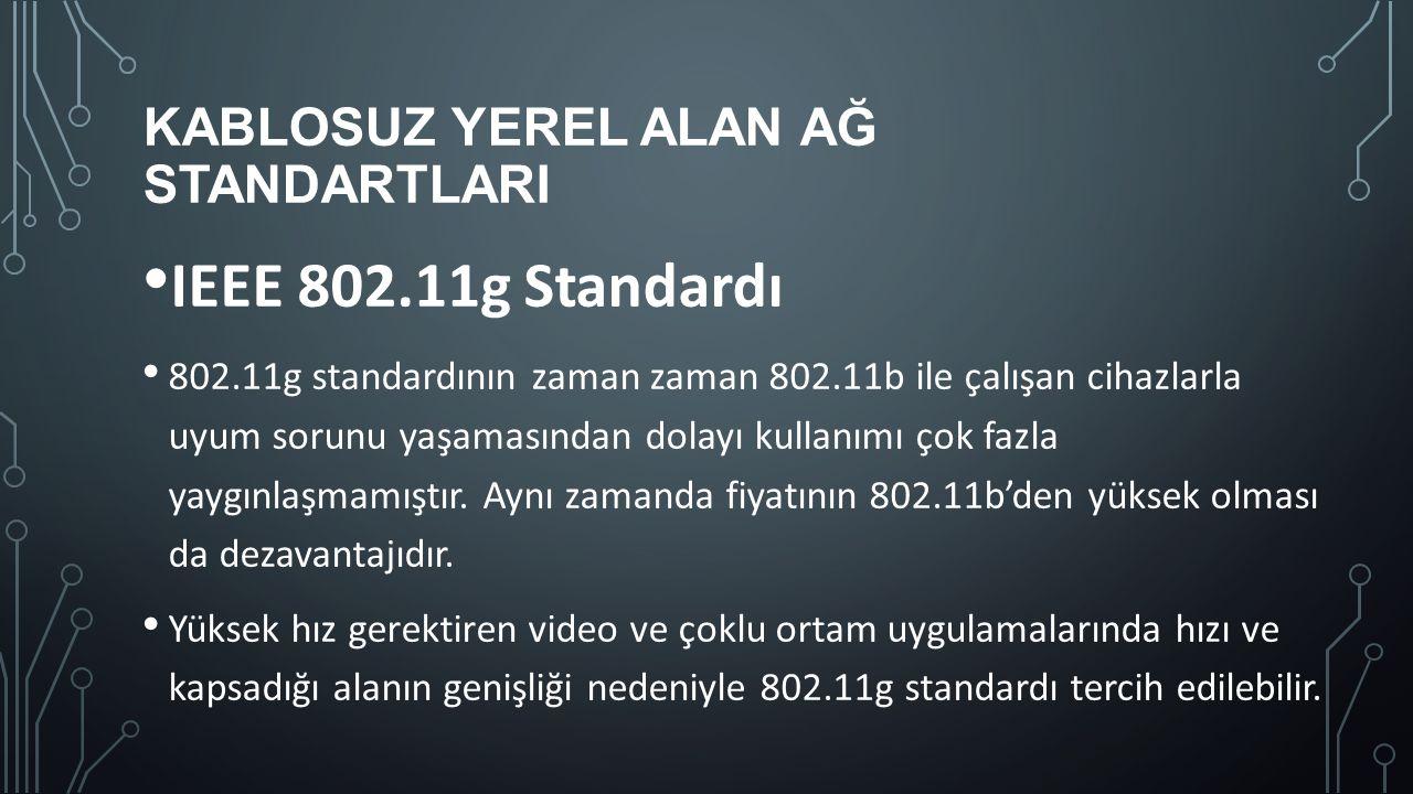 KABLOSUZ YEREL ALAN AĞ STANDARTLARI IEEE 802.11g Standardı 802.11g standardının zaman zaman 802.11b ile çalışan cihazlarla uyum sorunu yaşamasından do