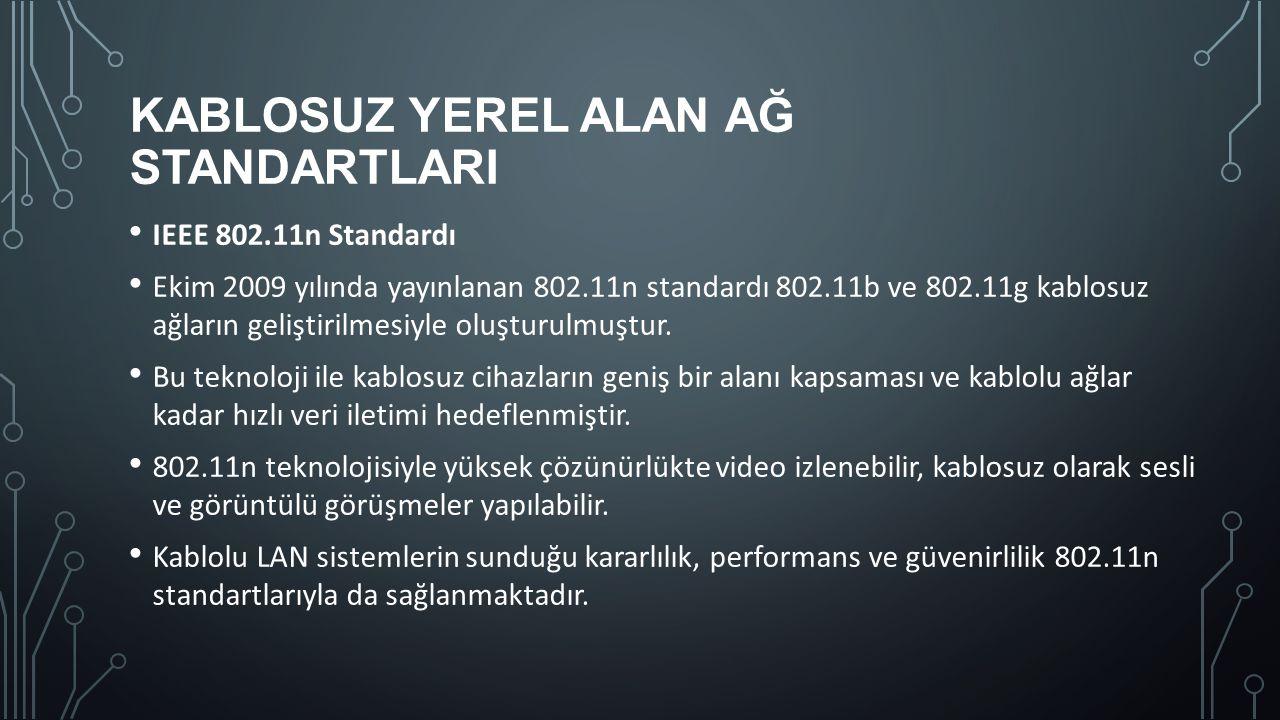 KABLOSUZ YEREL ALAN AĞ STANDARTLARI IEEE 802.11n Standardı Ekim 2009 yılında yayınlanan 802.11n standardı 802.11b ve 802.11g kablosuz ağların geliştir