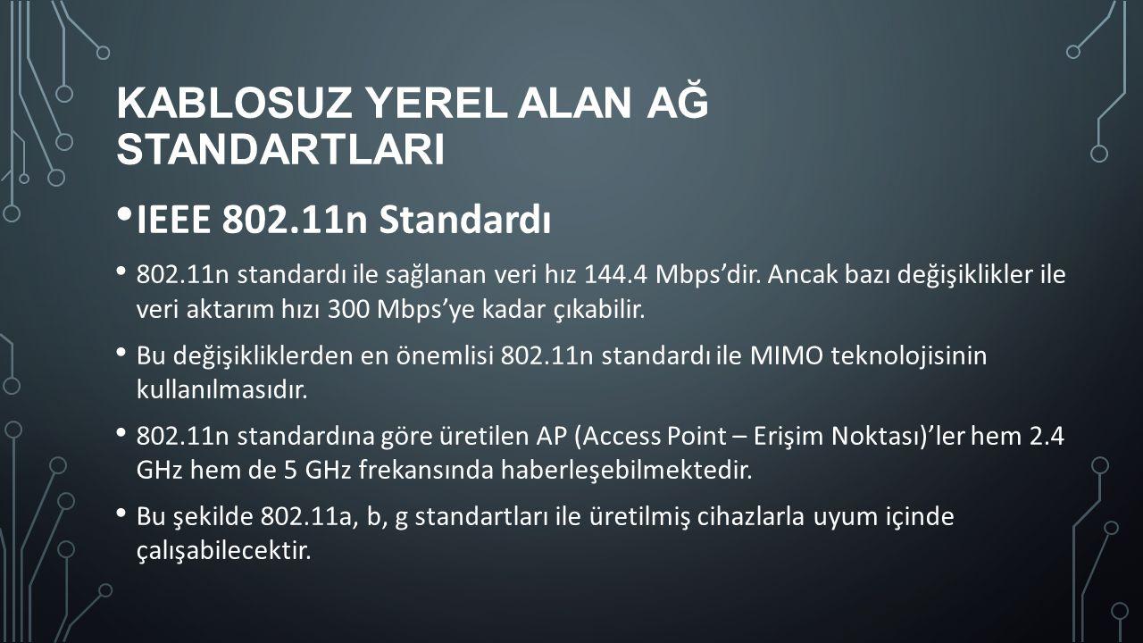 KABLOSUZ YEREL ALAN AĞ STANDARTLARI IEEE 802.11n Standardı 802.11n standardı ile sağlanan veri hız 144.4 Mbps'dir. Ancak bazı değişiklikler ile veri a
