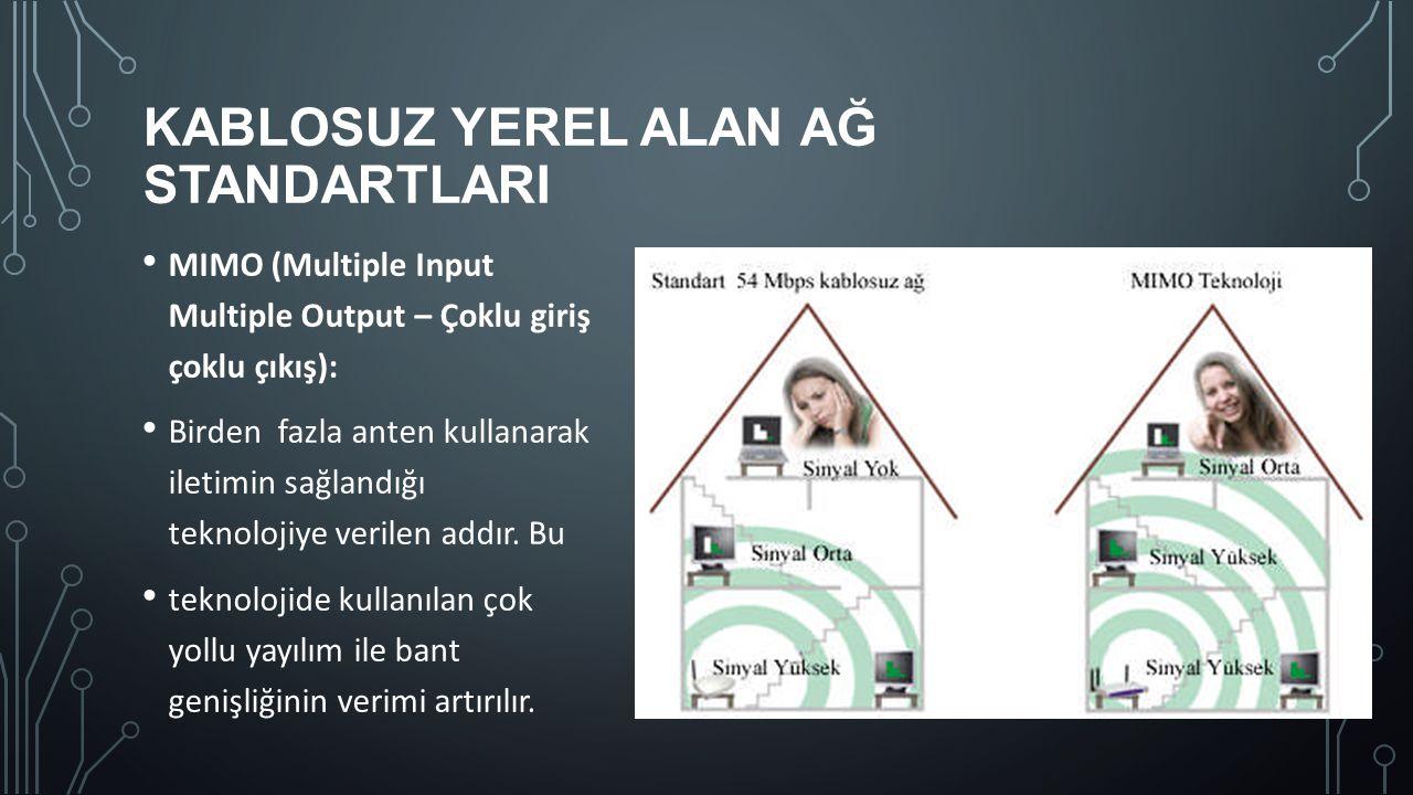 KABLOSUZ YEREL ALAN AĞ STANDARTLARI MIMO (Multiple Input Multiple Output – Çoklu giriş çoklu çıkış): Birden fazla anten kullanarak iletimin sağlandığı