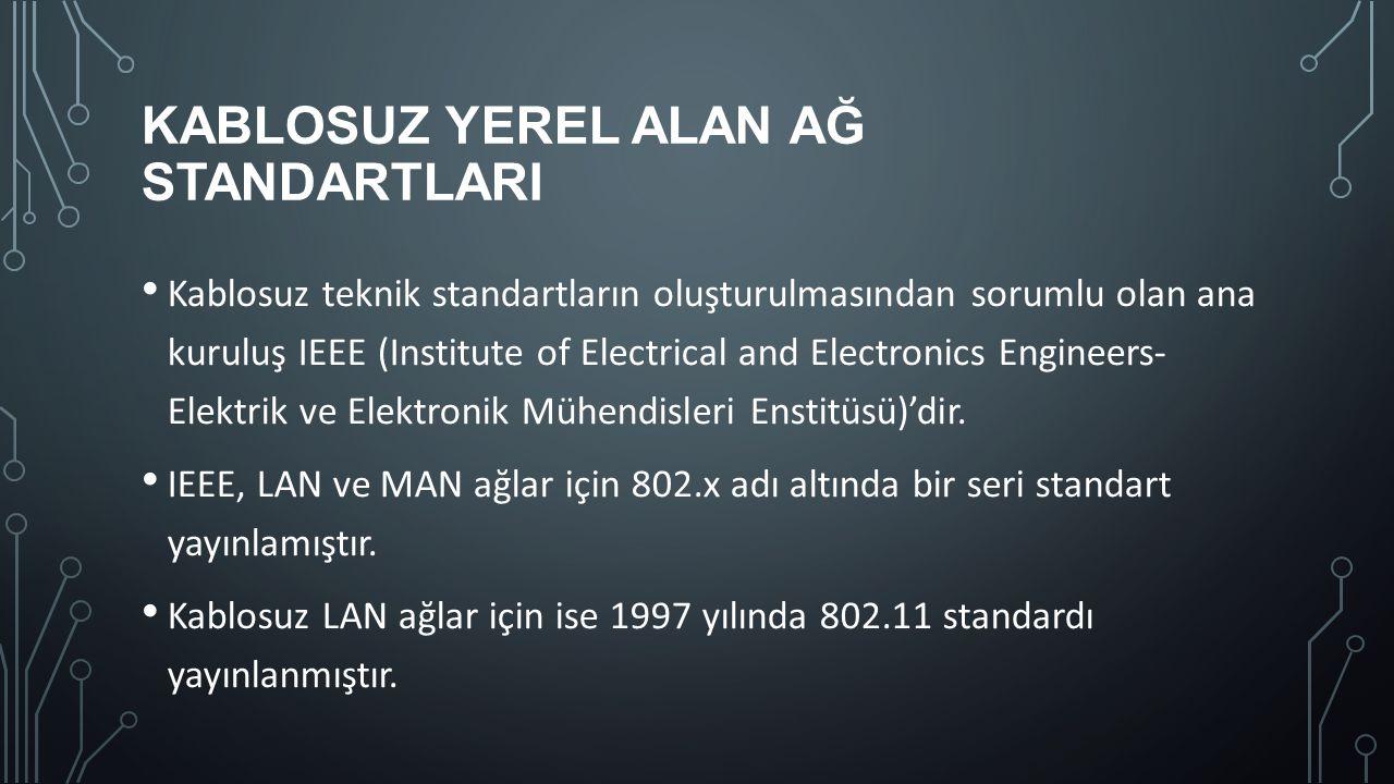 KABLOSUZ YEREL ALAN AĞ STANDARTLARI Kablosuz teknik standartların oluşturulmasından sorumlu olan ana kuruluş IEEE (Institute of Electrical and Electro