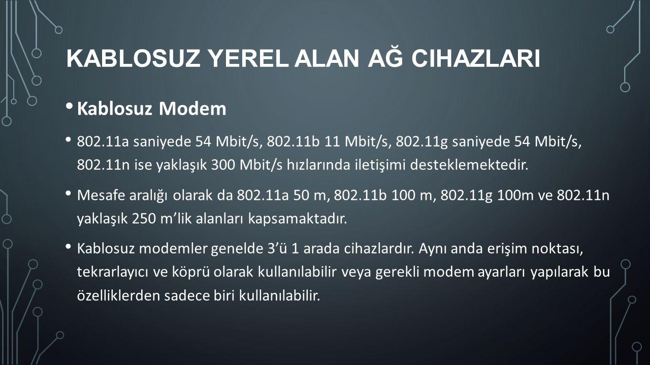 KABLOSUZ YEREL ALAN AĞ CIHAZLARI Kablosuz Modem 802.11a saniyede 54 Mbit/s, 802.11b 11 Mbit/s, 802.11g saniyede 54 Mbit/s, 802.11n ise yaklaşık 300 Mb