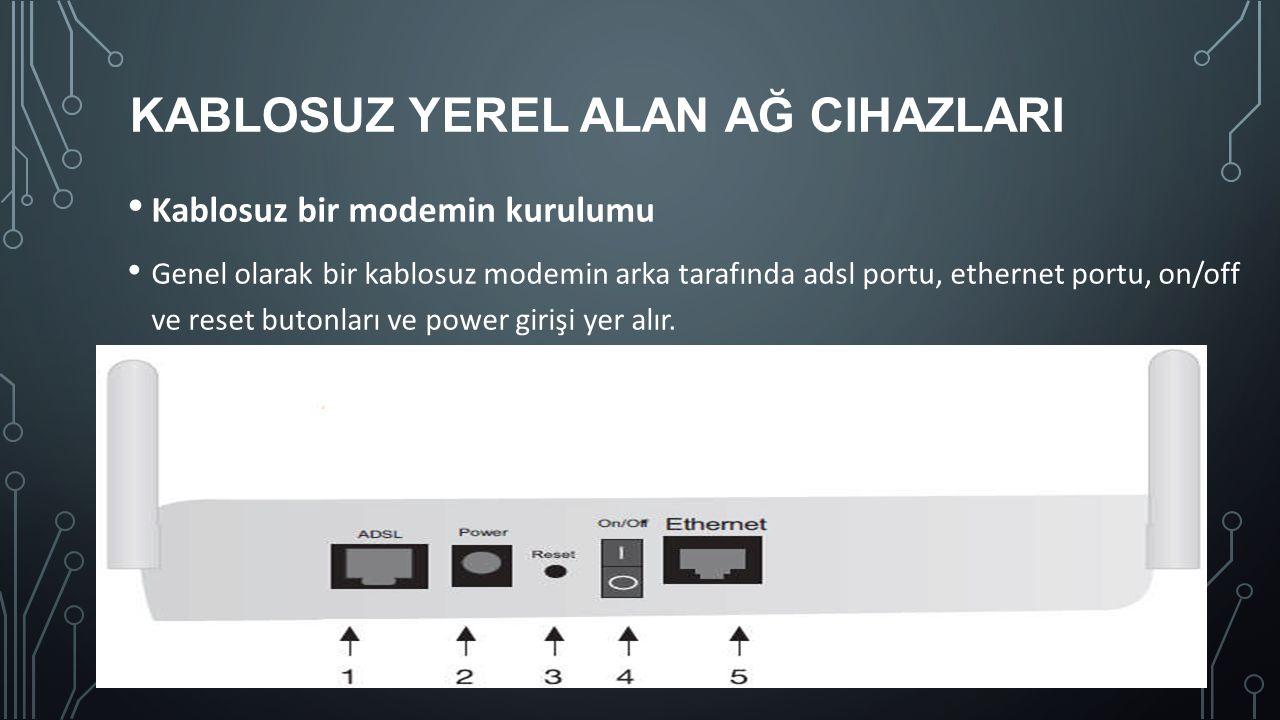 KABLOSUZ YEREL ALAN AĞ CIHAZLARI Kablosuz bir modemin kurulumu Genel olarak bir kablosuz modemin arka tarafında adsl portu, ethernet portu, on/off ve