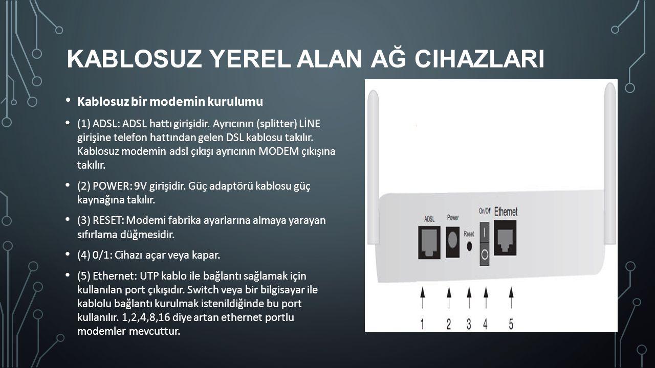 KABLOSUZ YEREL ALAN AĞ CIHAZLARI Kablosuz bir modemin kurulumu (1) ADSL: ADSL hattı girişidir. Ayrıcının (splitter) LİNE girişine telefon hattından ge