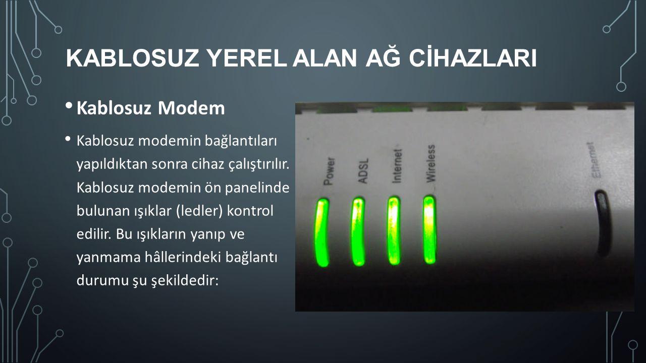 KABLOSUZ YEREL ALAN AĞ CİHAZLARI Kablosuz Modem Kablosuz modemin bağlantıları yapıldıktan sonra cihaz çalıştırılır. Kablosuz modemin ön panelinde bulu