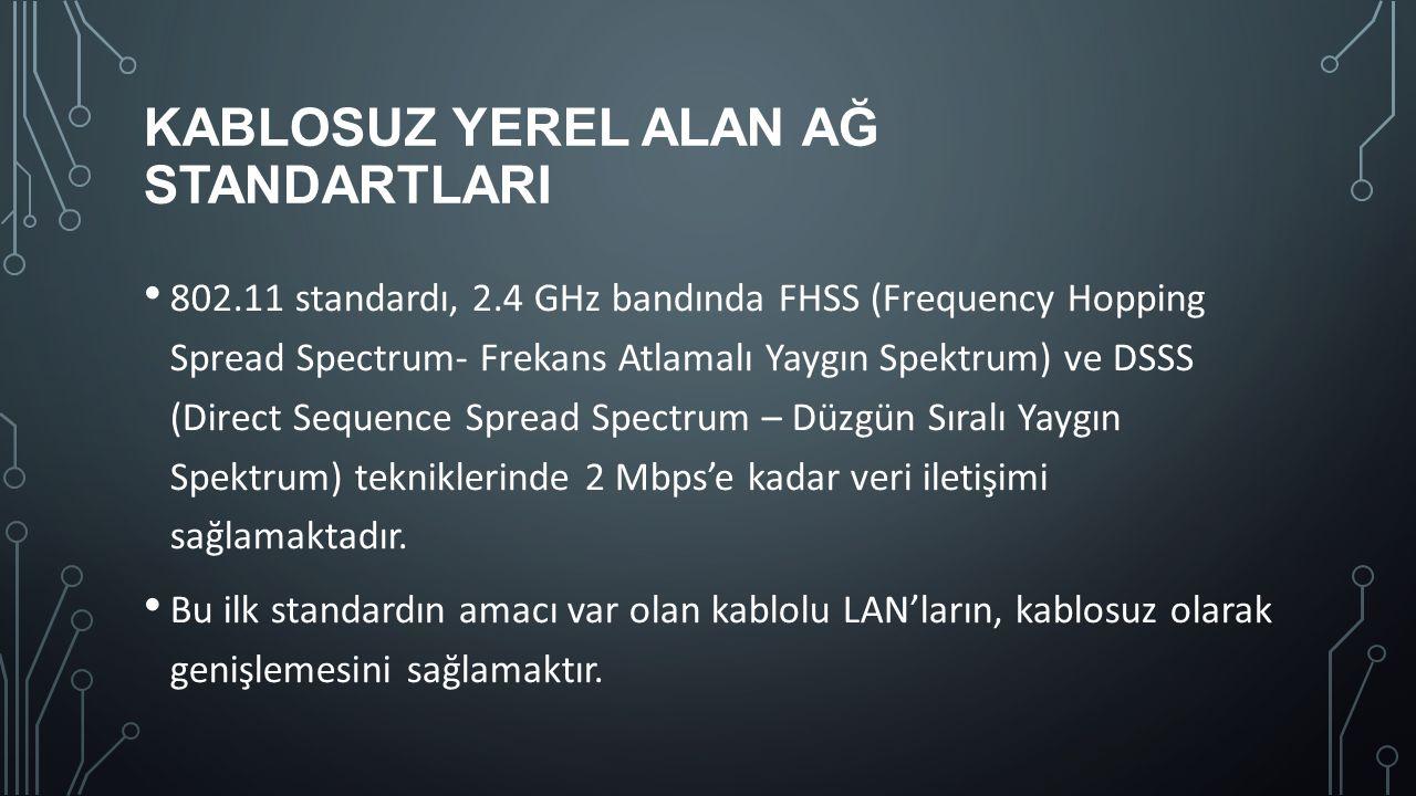 KABLOSUZ YEREL ALAN AĞ STANDARTLARI 802.11 standardı, 2.4 GHz bandında FHSS (Frequency Hopping Spread Spectrum- Frekans Atlamalı Yaygın Spektrum) ve D