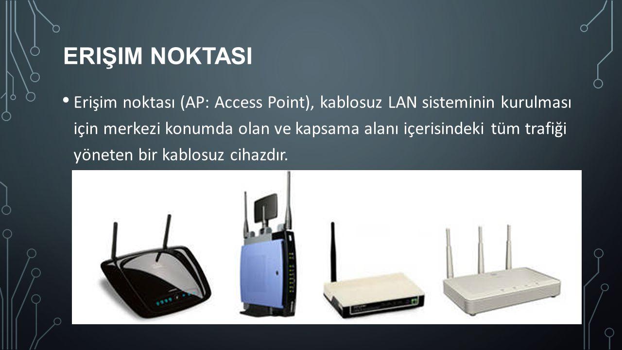 ERIŞIM NOKTASI Erişim noktası (AP: Access Point), kablosuz LAN sisteminin kurulması için merkezi konumda olan ve kapsama alanı içerisindeki tüm trafiğ