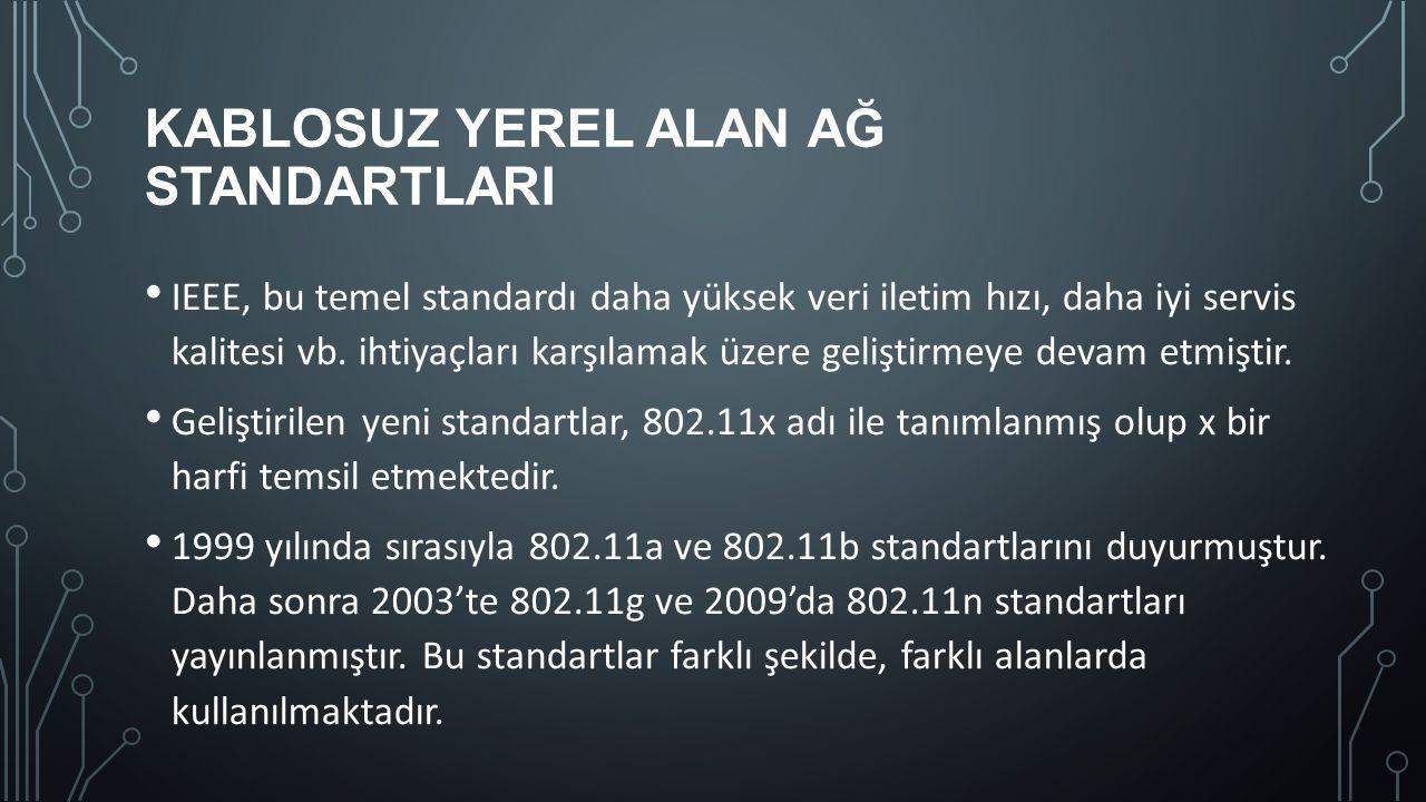 KABLOSUZ YEREL ALAN AĞ STANDARTLARI 802.11b, g, ve n standartlarına genel olarak Wi-Fi (Kablosuz Bağımlılık) denir.