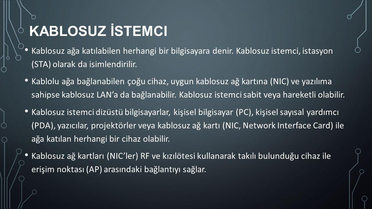 KABLOSUZ İSTEMCI Kablosuz ağa katılabilen herhangi bir bilgisayara denir. Kablosuz istemci, istasyon (STA) olarak da isimlendirilir. Kablolu ağa bağla