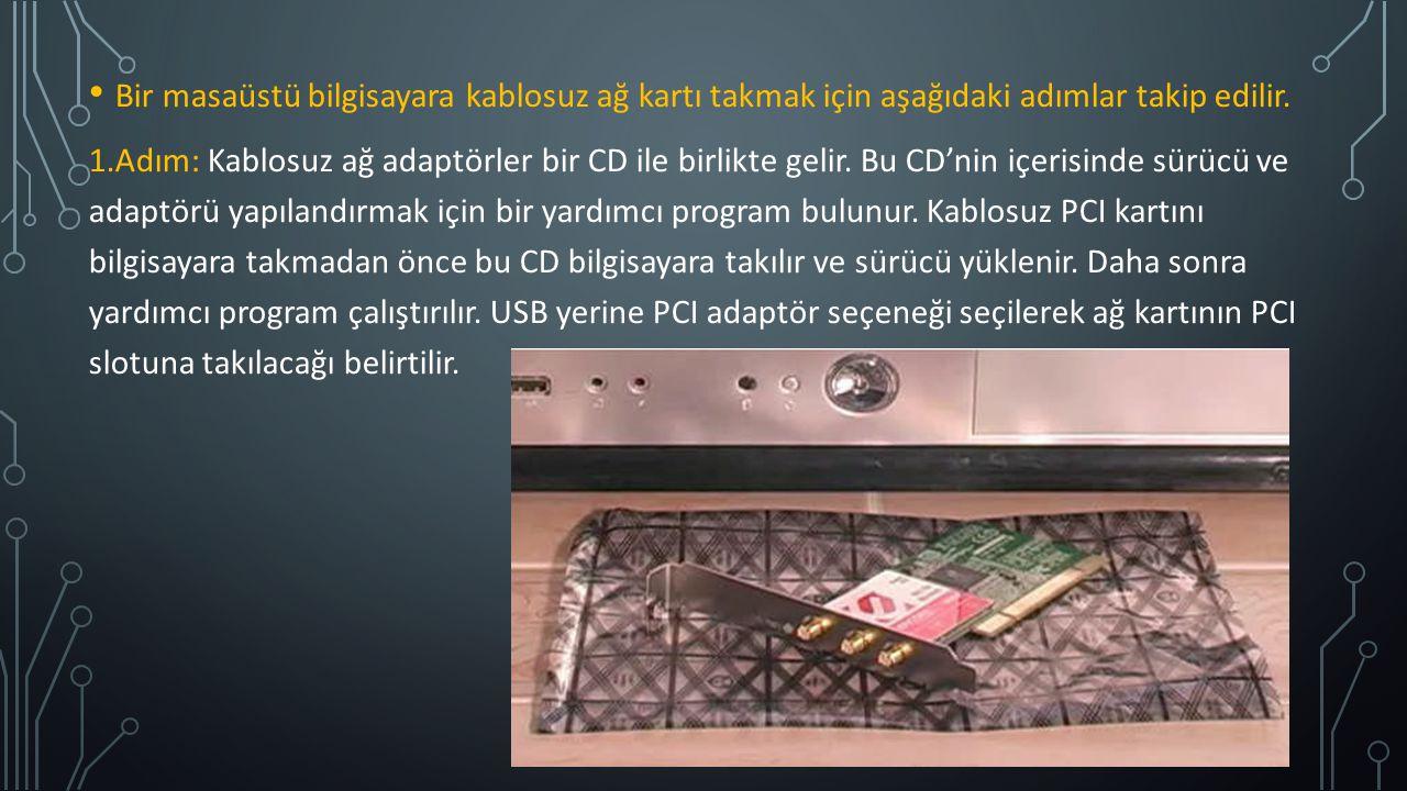 Bir masaüstü bilgisayara kablosuz ağ kartı takmak için aşağıdaki adımlar takip edilir. 1.Adım: Kablosuz ağ adaptörler bir CD ile birlikte gelir. Bu CD