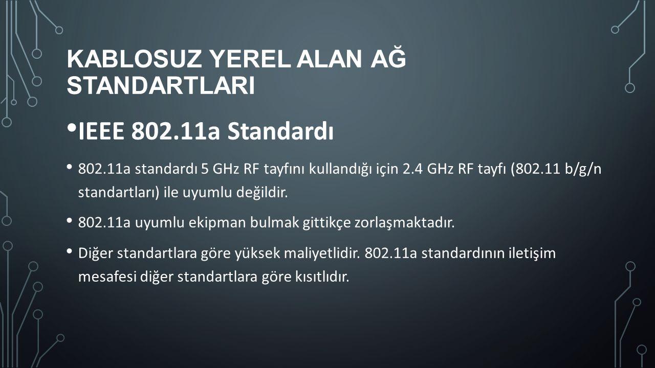 KABLOSUZ YEREL ALAN AĞ STANDARTLARI IEEE 802.11a Standardı 802.11a standardı 5 GHz RF tayfını kullandığı için 2.4 GHz RF tayfı (802.11 b/g/n standartl