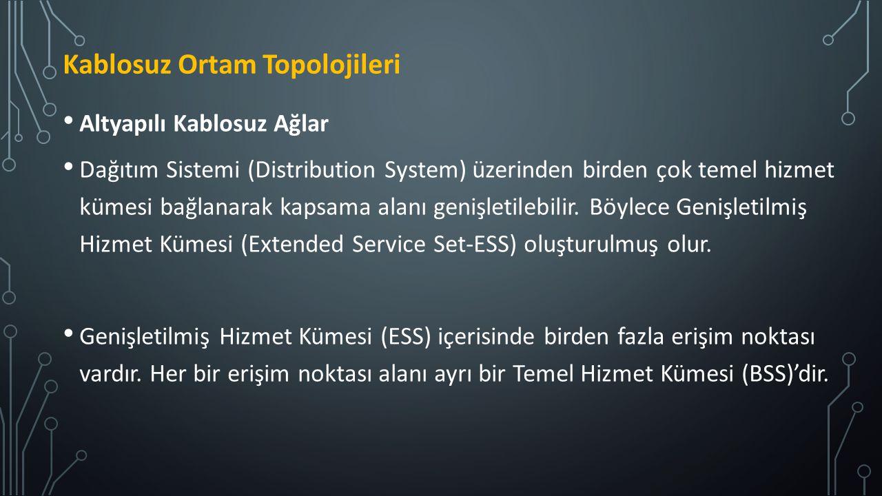 Altyapılı Kablosuz Ağlar Dağıtım Sistemi (Distribution System) üzerinden birden çok temel hizmet kümesi bağlanarak kapsama alanı genişletilebilir. Böy