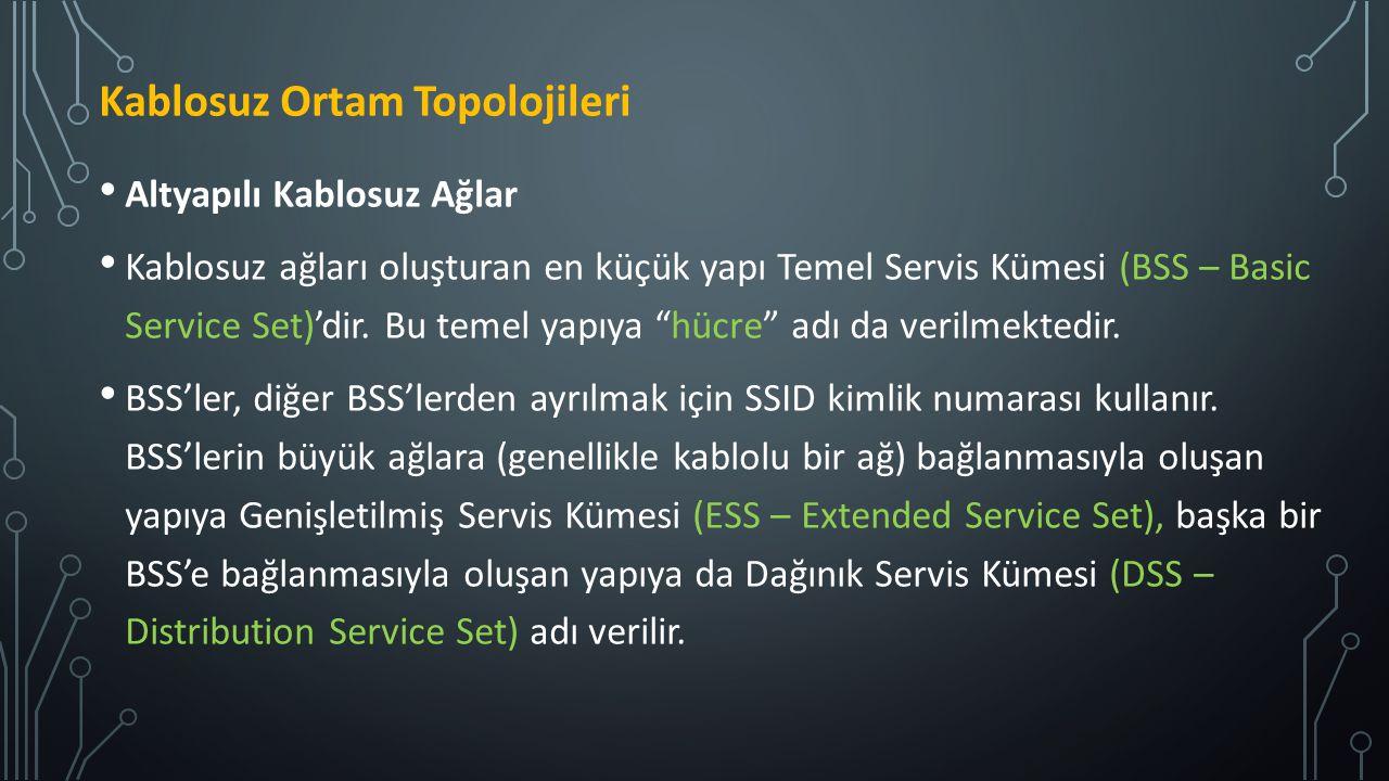 """Altyapılı Kablosuz Ağlar Kablosuz ağları oluşturan en küçük yapı Temel Servis Kümesi (BSS – Basic Service Set)'dir. Bu temel yapıya """"hücre"""" adı da ver"""