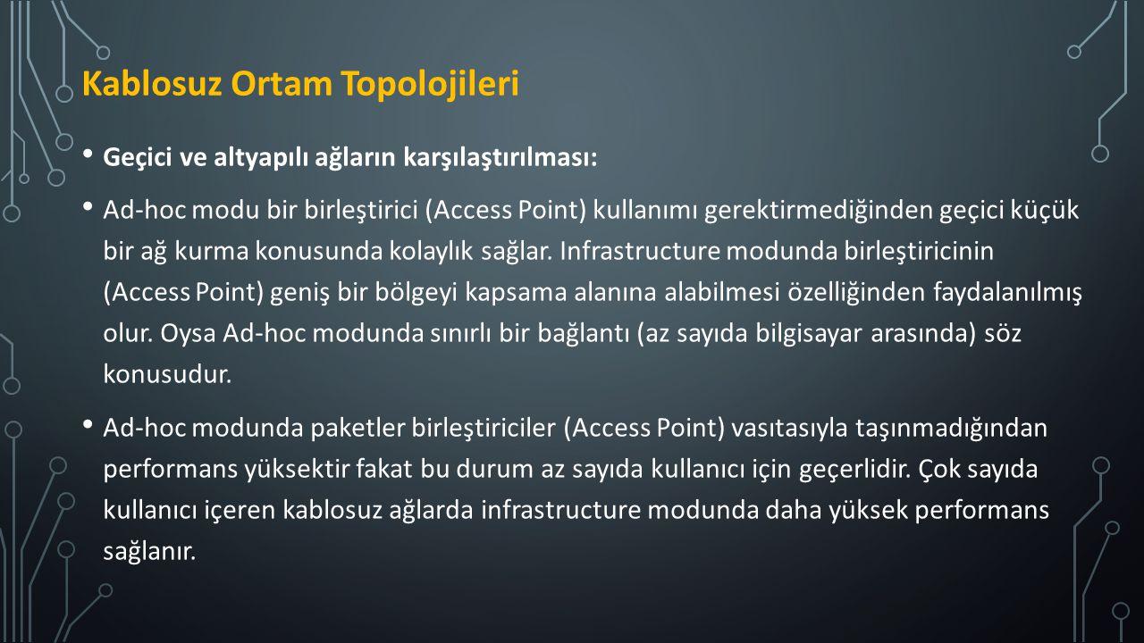 Geçici ve altyapılı ağların karşılaştırılması: Ad-hoc modu bir birleştirici (Access Point) kullanımı gerektirmediğinden geçici küçük bir ağ kurma konu