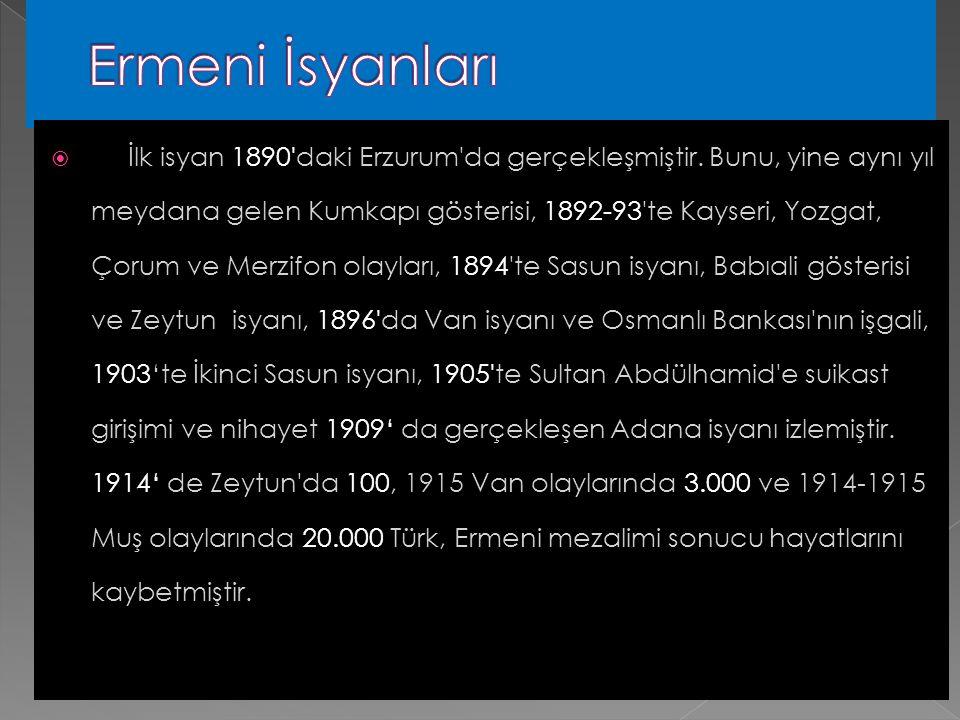 5- Ermeni Patrikhanesi'nin çalışmaları  6-Ermeni din adamları, aydınları ve zenginlerinin bu yoldaki propagandaları  7-Amerikan Protestan misyoner