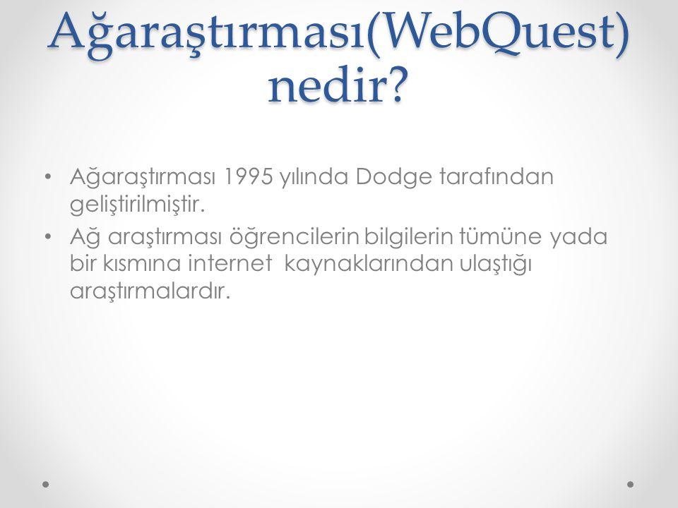 Ağaraştırması(WebQuest) nedir.Ağaraştırması 1995 yılında Dodge tarafından geliştirilmiştir.