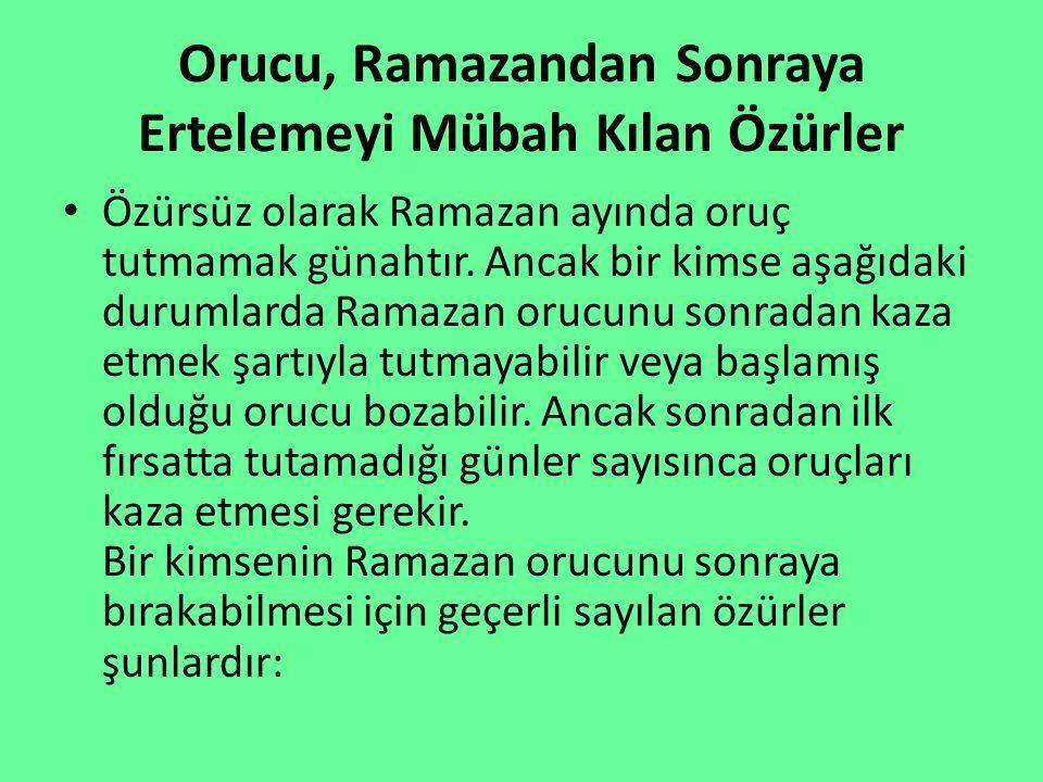 Orucu, Ramazandan Sonraya Ertelemeyi Mübah Kılan Özürler Özürsüz olarak Ramazan ayında oruç tutmamak günahtır. Ancak bir kimse aşağıdaki durumlarda Ra