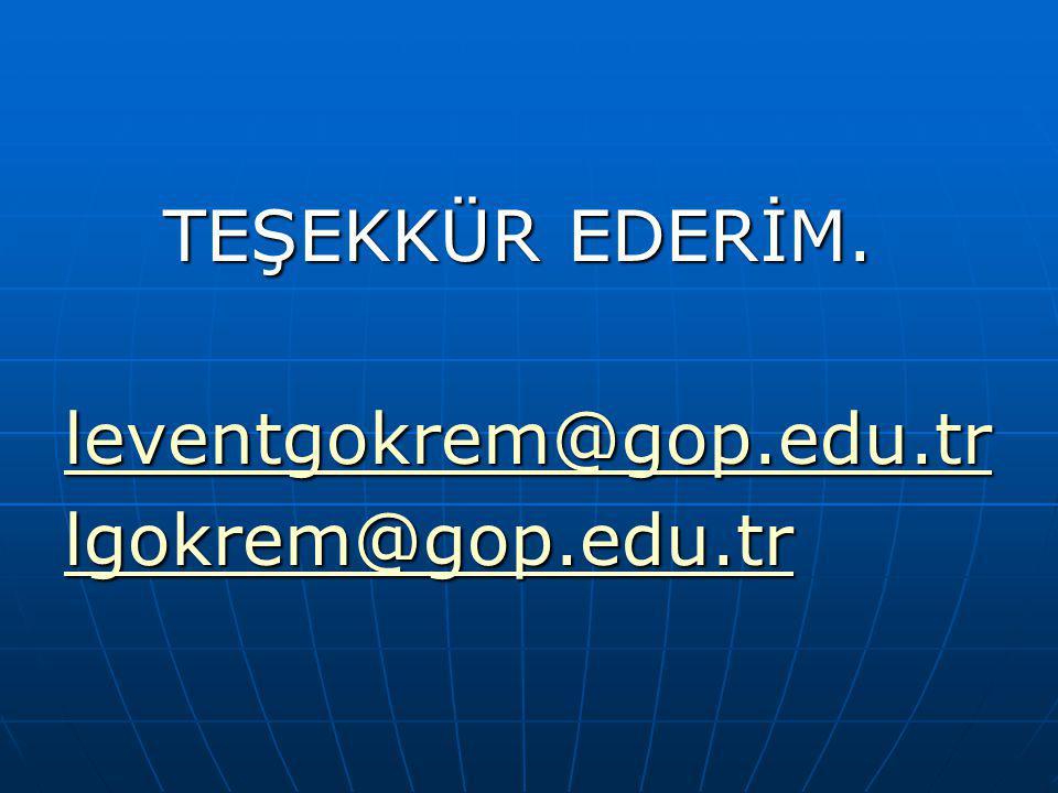 TEŞEKKÜR EDERİM. TEŞEKKÜR EDERİM. leventgokrem@gop.edu.tr lgokrem@gop.edu.tr