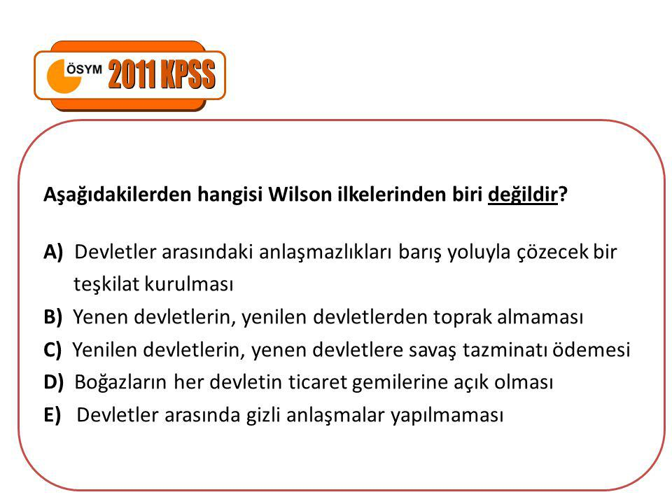 Aşağıdakilerden hangisi Wilson ilkelerinden biri değildir.