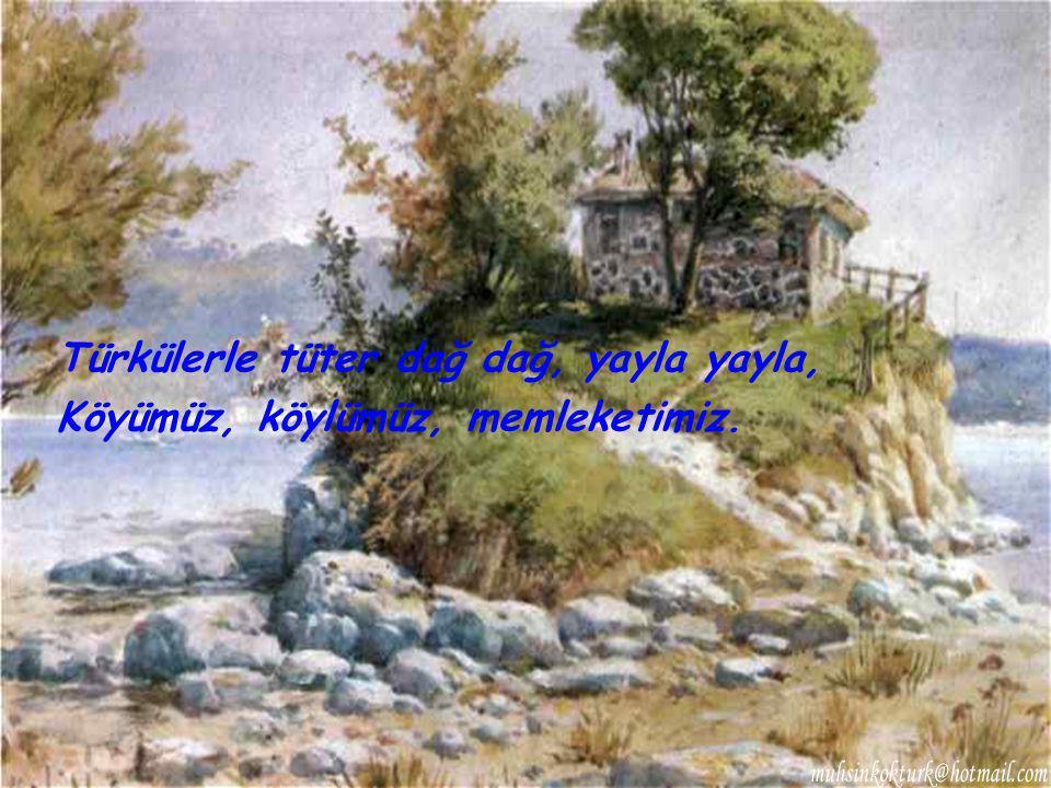 Türkülerle tüter dağ dağ, yayla yayla, Köyümüz, köylümüz, memleketimiz.
